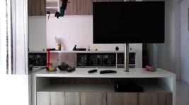 Tv tubo giratório, rack para sala, rack para tv